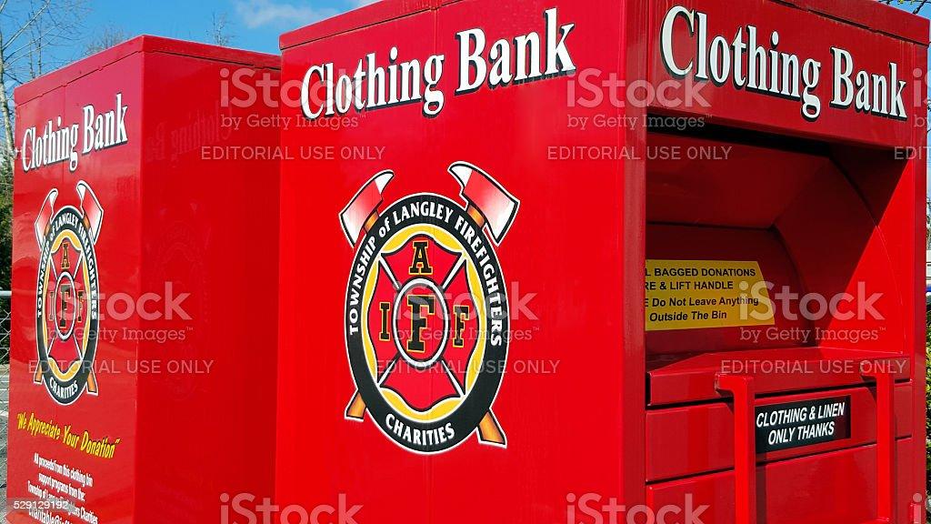 Charitible Donation Clothing Bins. stock photo