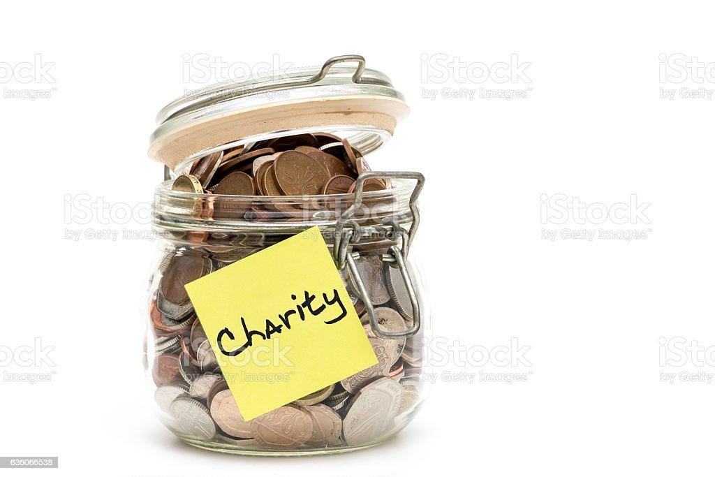 Charity jar stock photo