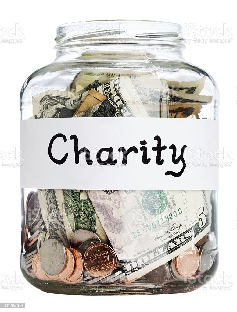 Charity Jar w/ Clipping Path stock photo