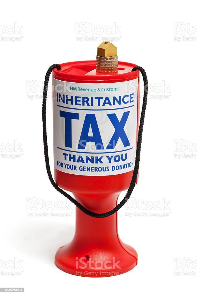Charity money job labelled with inheritance tax stock photo
