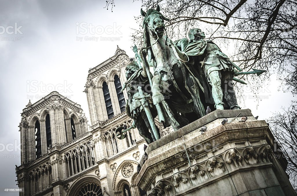 Charlemagne in Notre Dame cathedral Paris France stock photo