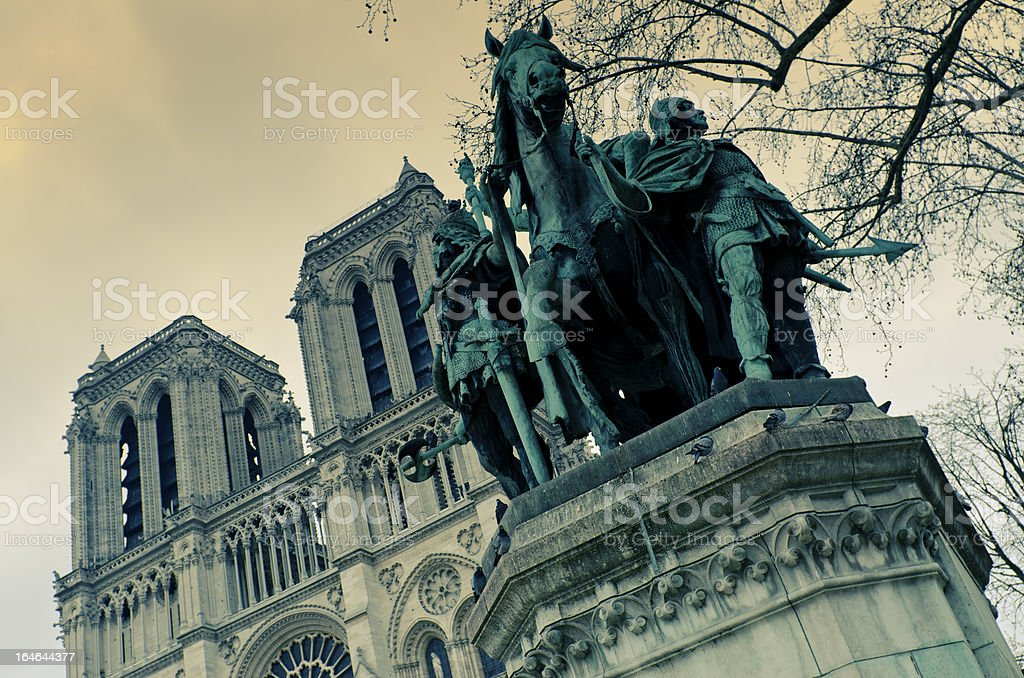 Charlemagne, Notre-Dame in Paris. stock photo