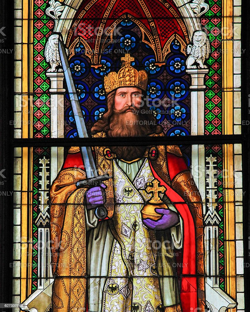 Charlemagne - Stained Glass in Cologne Cathedral stock photo