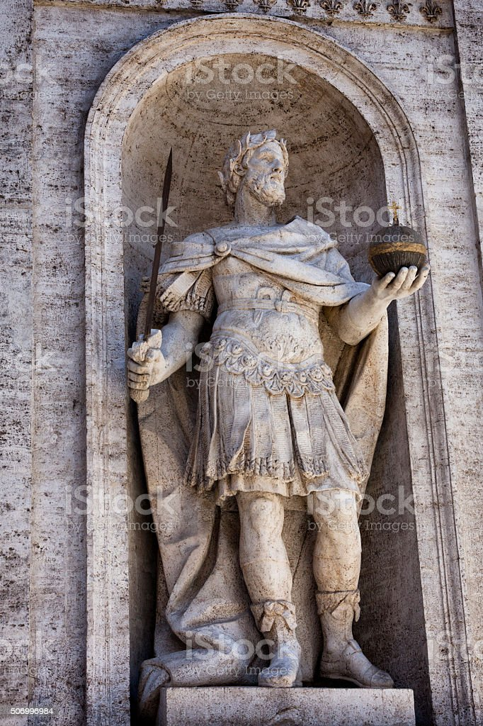 Charlemagne statue at San Luigi dei Francesi in Rome, Italy stock photo
