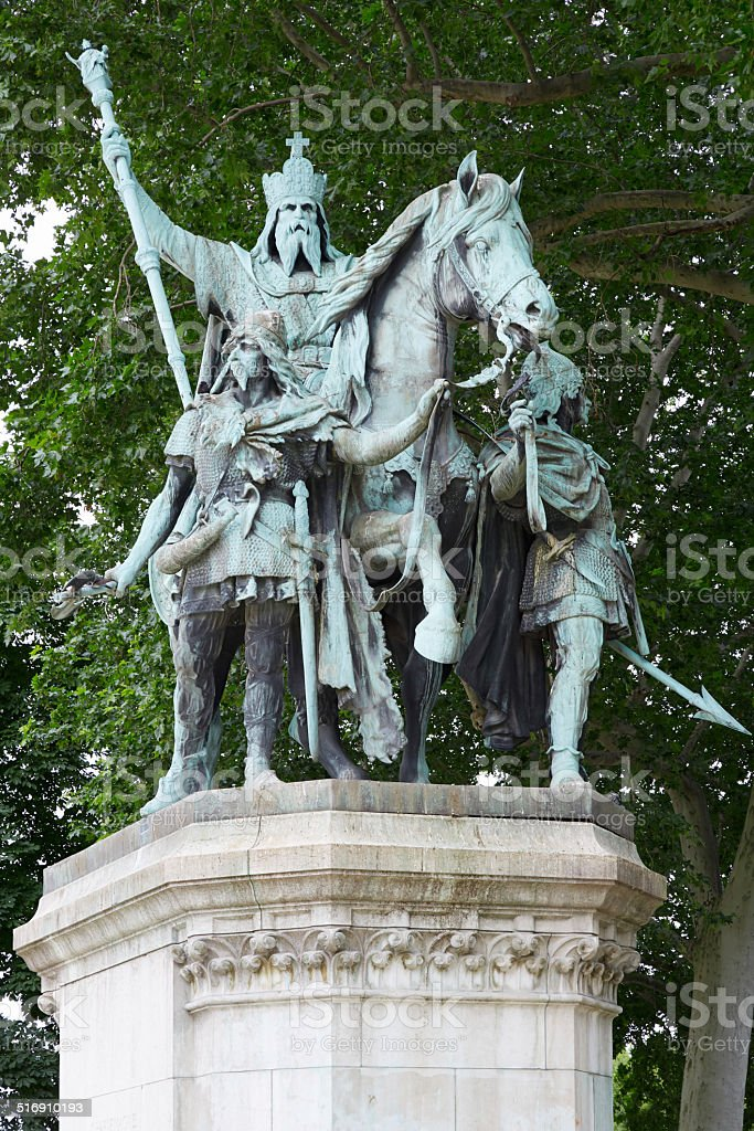 Charlemagne statue in Paris stock photo