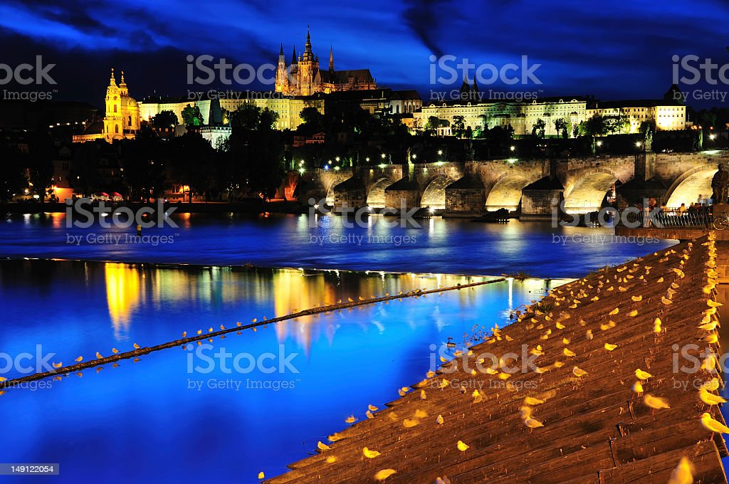 Charles Bridge and Castle in Twilight Prague royalty-free stock photo