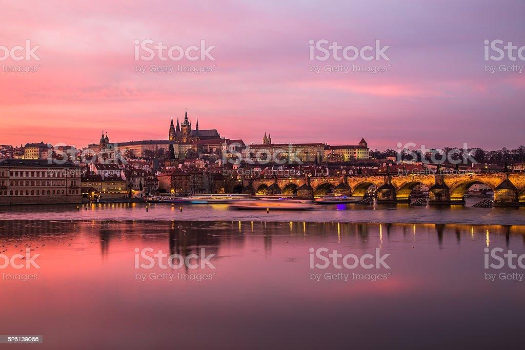 Charles Bridge and Prague Castle at Sunset stock photo
