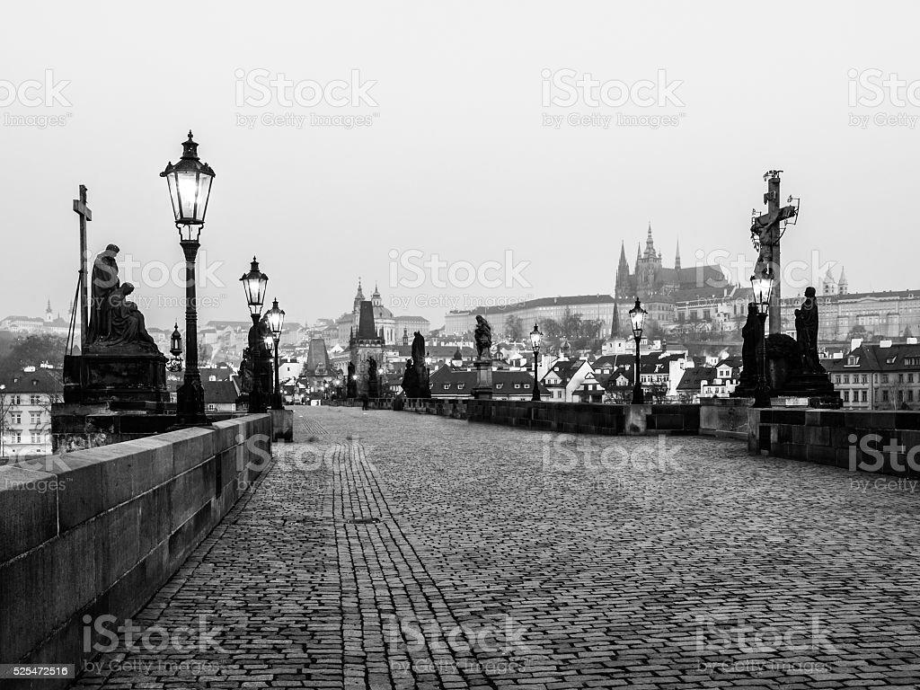 Charles Bridge and Prague Castle before sunrise stock photo