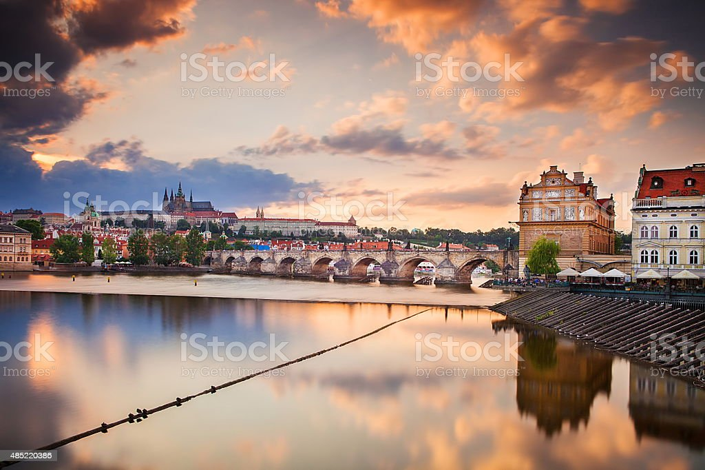 Charles Bridge and Prague Castle from Lavka stock photo