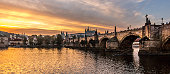 Charles Bridge and Prague Castle from Lavka