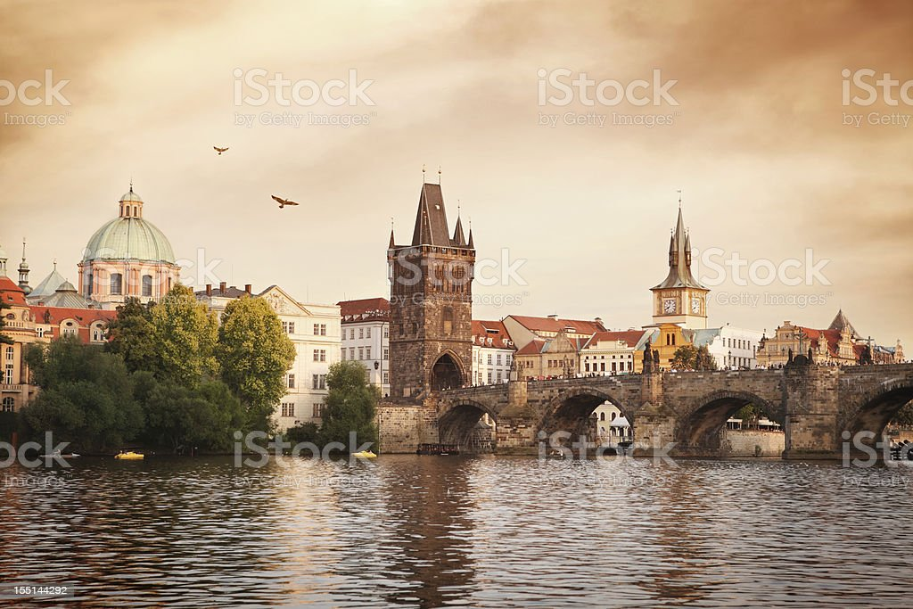 Charles bridge and Vltava river in Prague royalty-free stock photo
