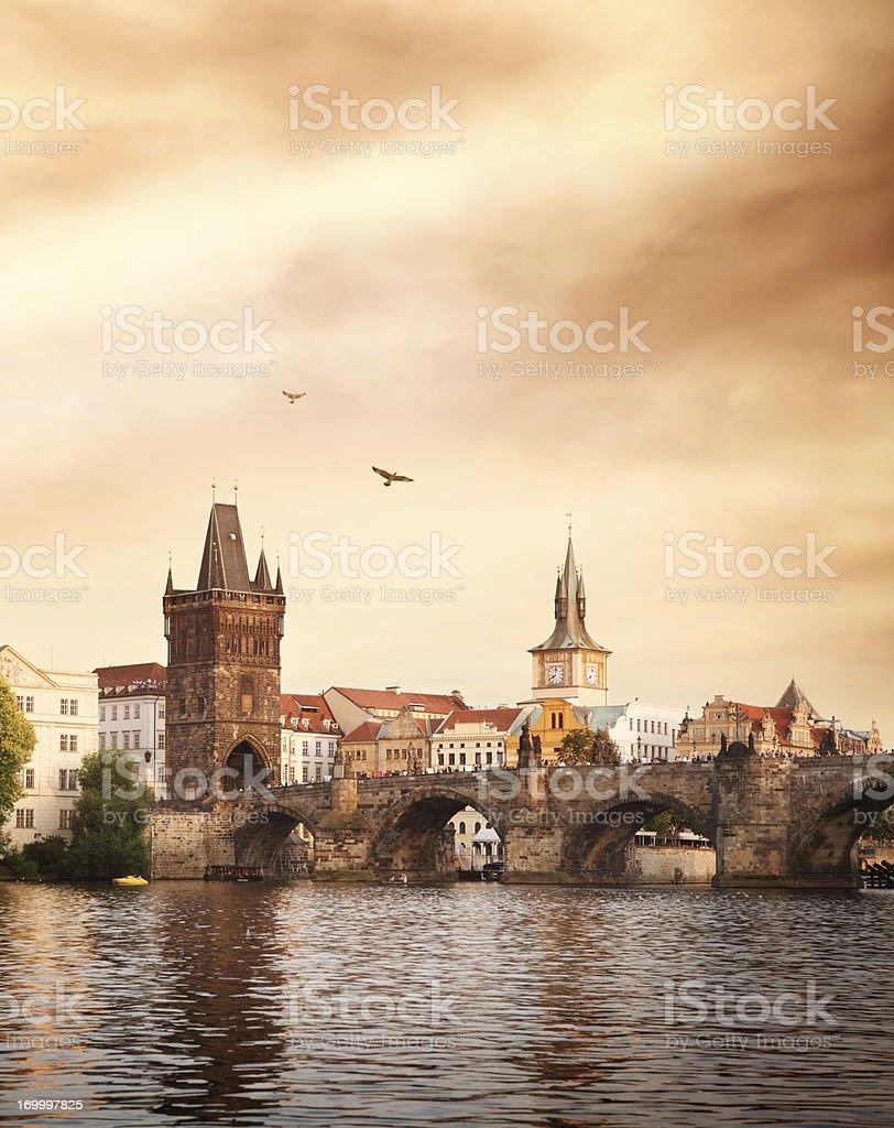 Charles bridge and Vltava river in Prague royalty-free stock photo