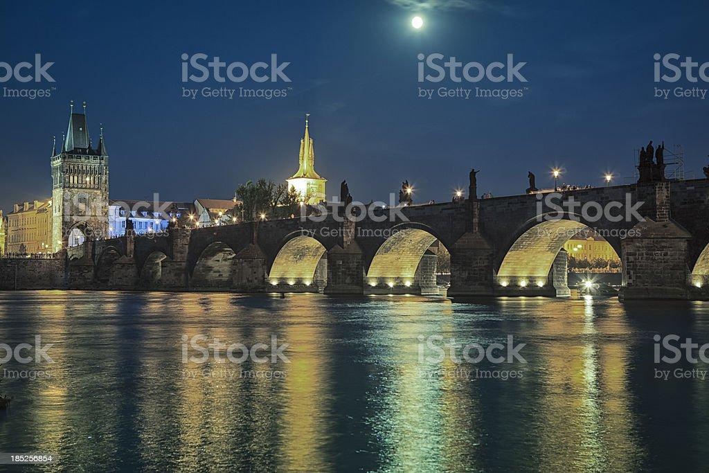 Charles Bridge at night, Prague, Czech Republic royalty-free stock photo