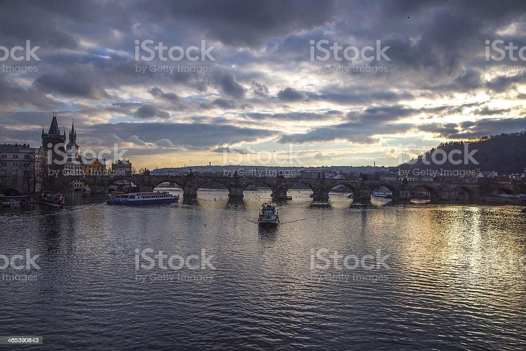Charles Bridge at Sunset royalty-free stock photo