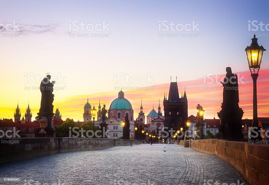 Charles bridge at sunset, Prague stock photo