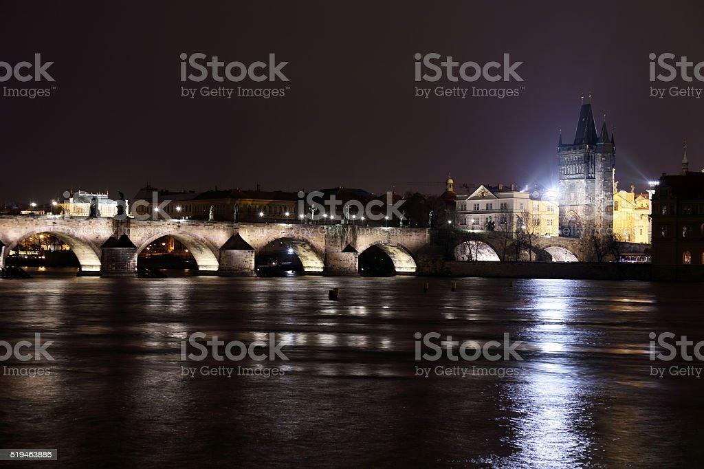 Charles Bridge by night stock photo