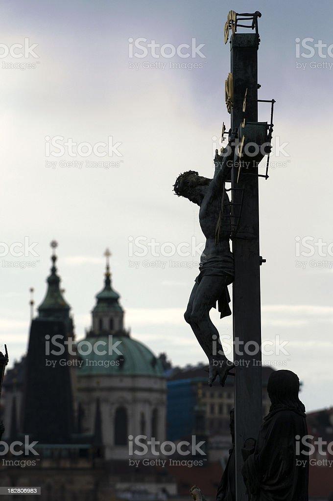 Charles Bridge, Calvary cross, Prague stock photo