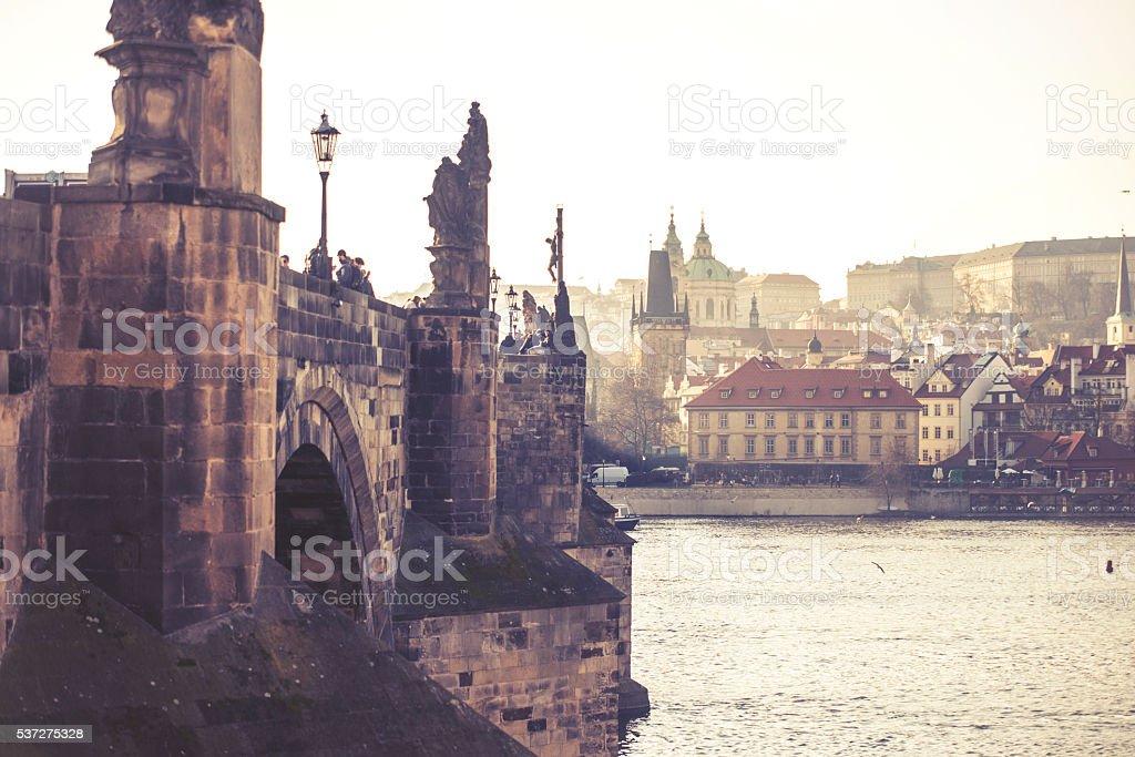Charles Bridge, Czech Republic, vintage effect stock photo