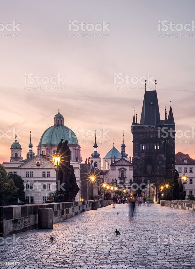 Charles Bridge during the early morning in Prague, Czech Republic stock photo