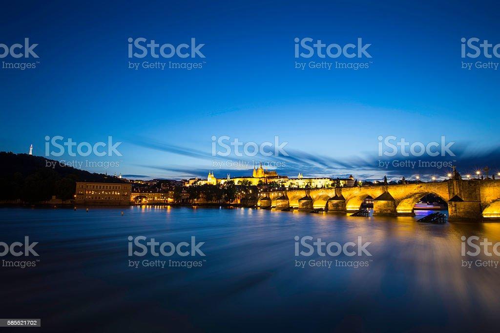 Charles Bridge in Prague at night stock photo