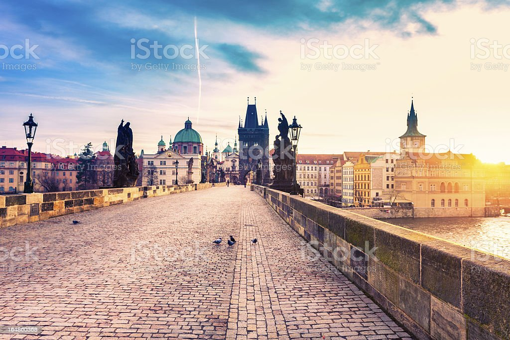 Charles Bridge in Prague at Sunrise stock photo
