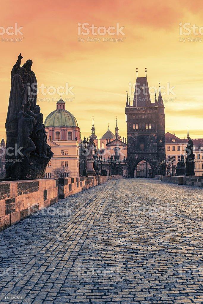 Charles Bridge in Prague at Sunset stock photo