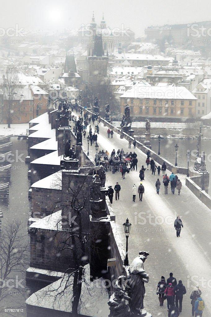 Charles Bridge in Prague during the winter stock photo