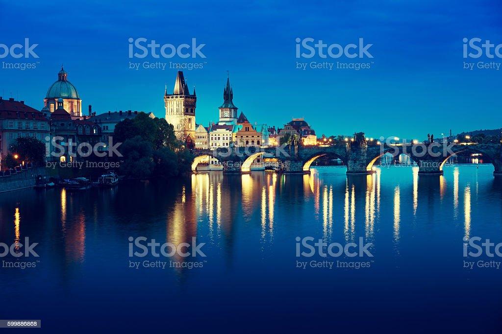 Charles bridge in sunset time, Prague , Czech Republic stock photo
