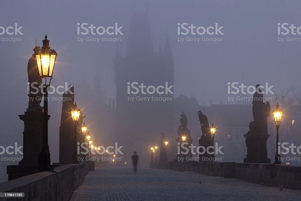 Charles Bridge in the mist royalty-free stock photo
