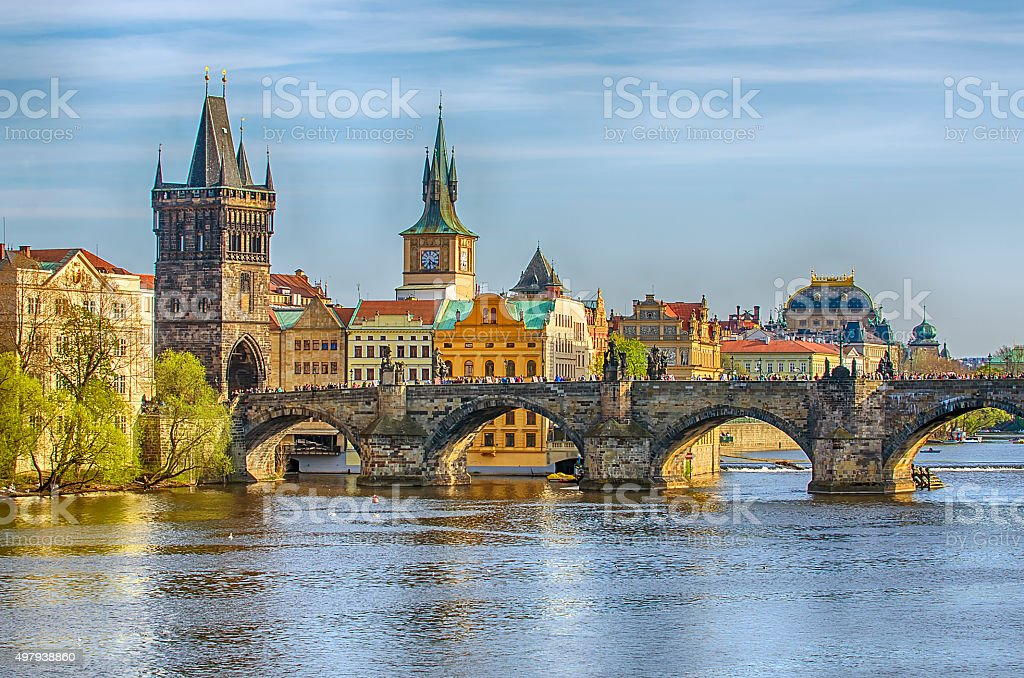 Charles Bridge in the Old Town of Prague, Czech Republic stock photo