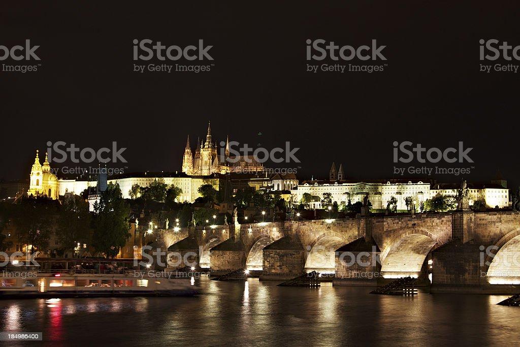 Charles Bridge Night view in Prague stock photo