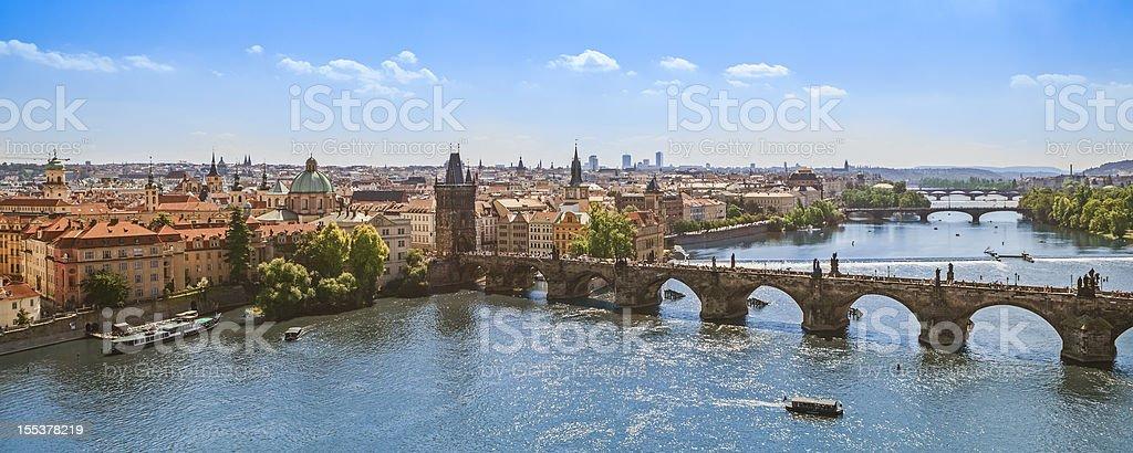 Charles Bridge over Vltava River, Prague stock photo
