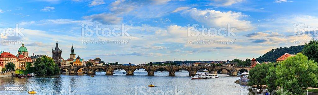 Charles Bridge (Stone Bridge, Kamenny most, Prague Bridge, Prazhski most) stock photo