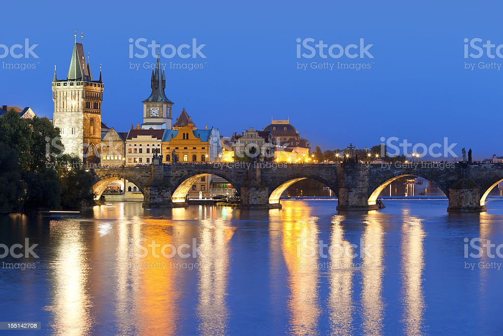 Charles bridge Prague Czech Republic at night royalty-free stock photo