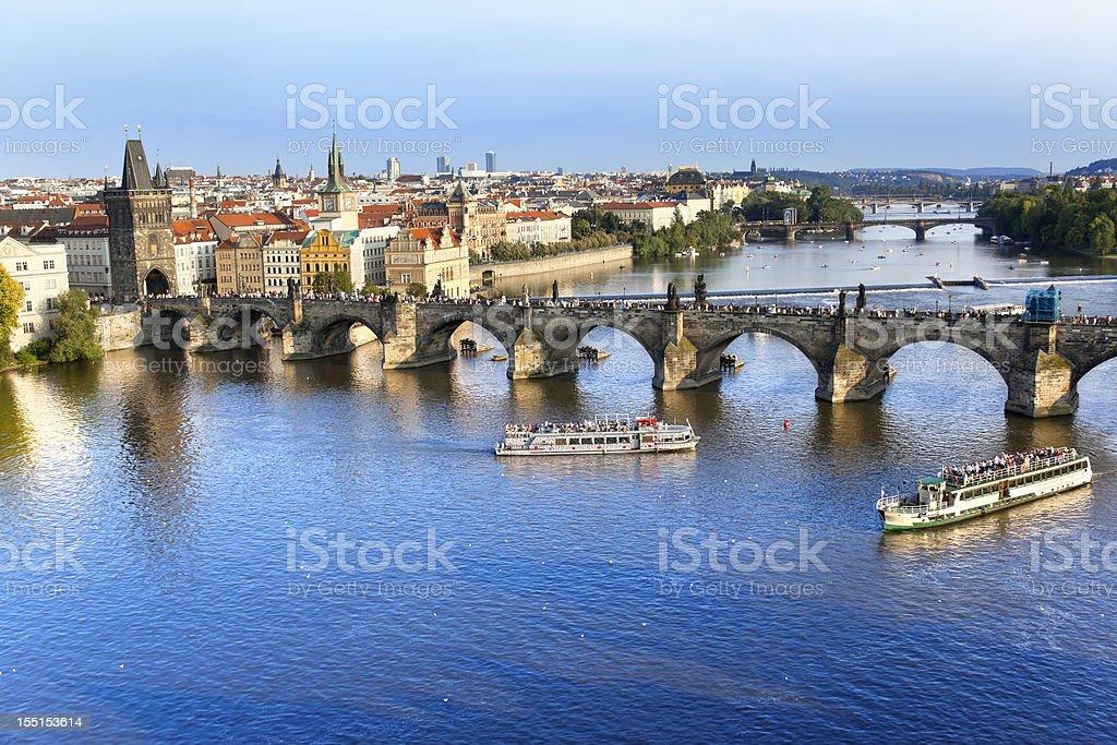 Charles bridge Prague Czech Republic with Vltava River royalty-free stock photo