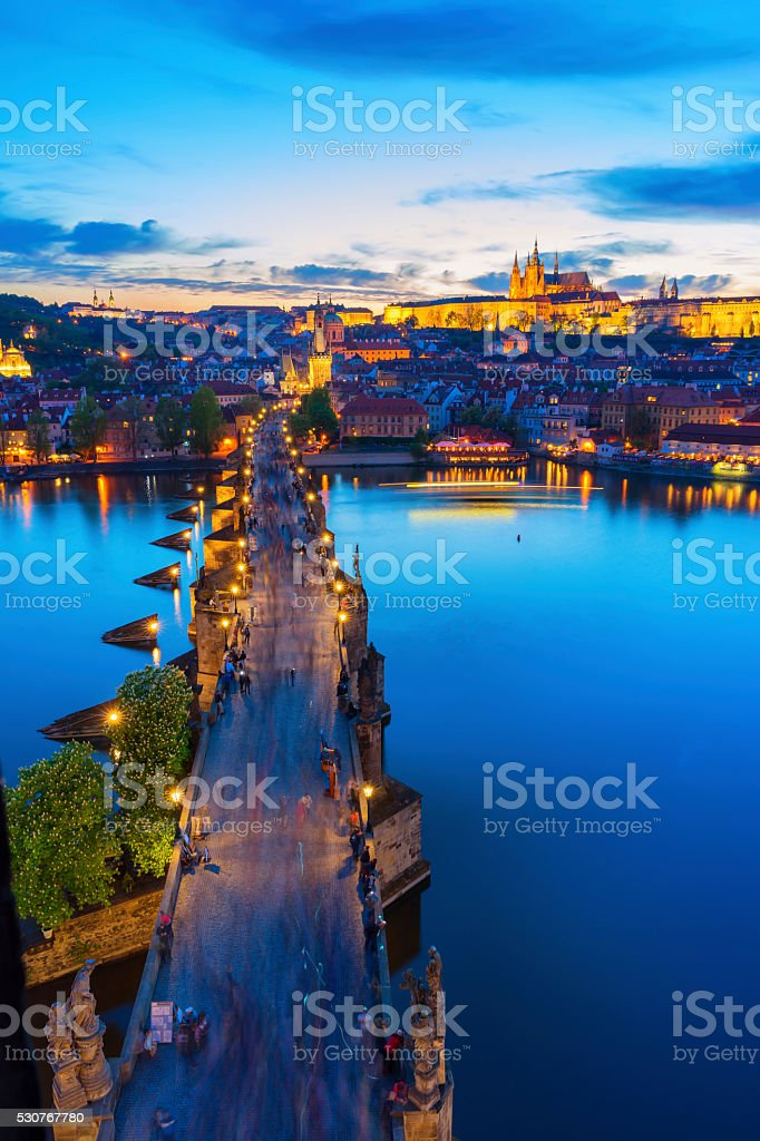 Charles Bridge Prague in the evening light stock photo