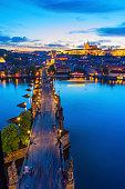 Charles Bridge Prague in the evening light