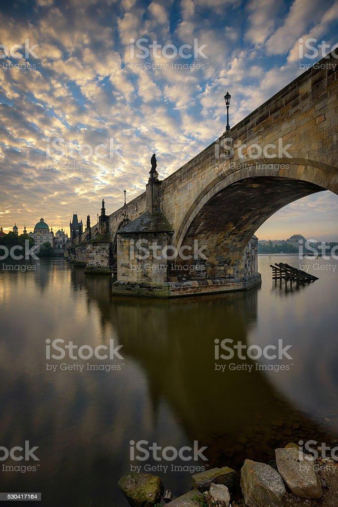 Charles bridge reflection, Prague, Czech republic stock photo