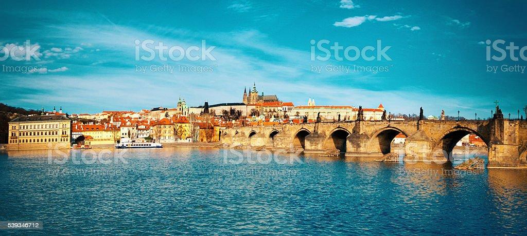 Charles Bridge, St. Vitus Cathedral and historical Prague stock photo