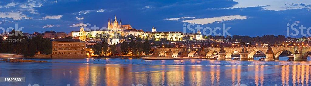 Charles Bridge,  St Vitus Cathedral, Prague royalty-free stock photo