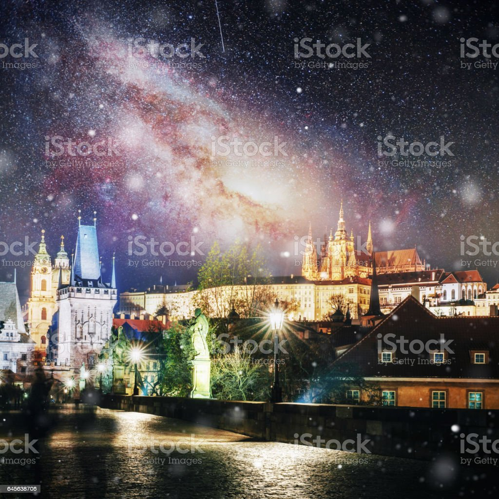 Charles Bridge with statues and Prague Castle at night. , Czech Republic stock photo