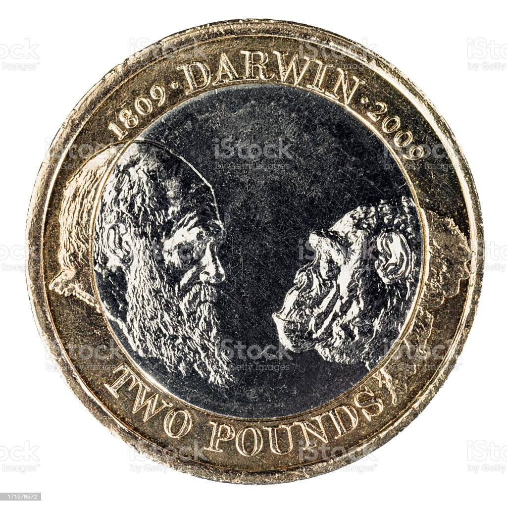Charles Darwin Anniversary Two Pound Coin stock photo
