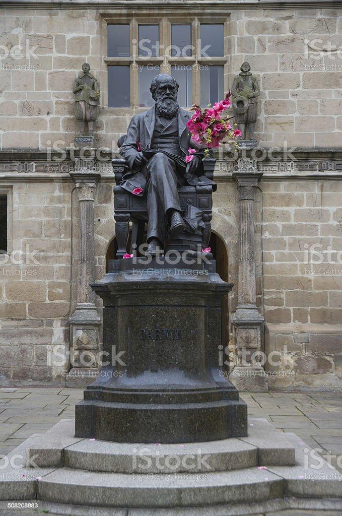 Charles Darwin statue on Shrewsbury flower show day. royalty-free stock photo