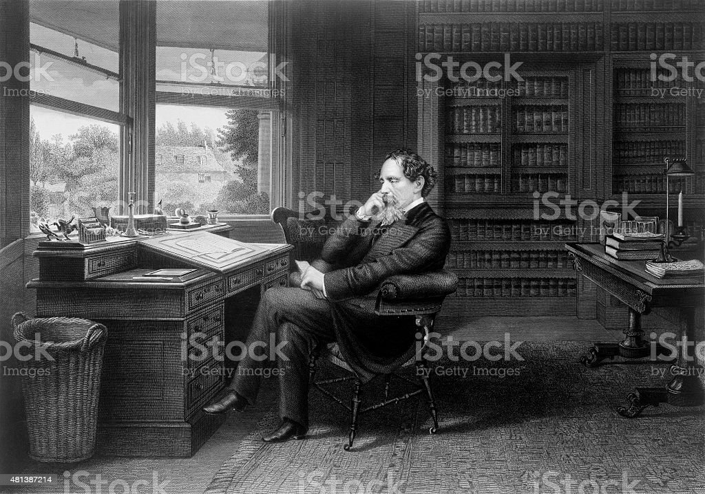 Charles Dickens in His Study stock photo