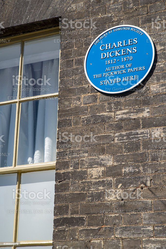 Charles Dickens Plaque in Bury St. Edmunds stock photo
