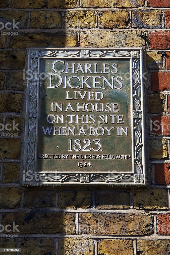 Charles Dickens Plaque in London stock photo