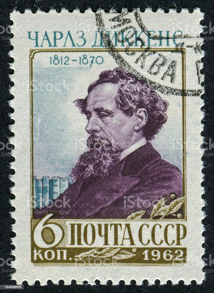 Charles Dickens Stamp royalty-free stock photo