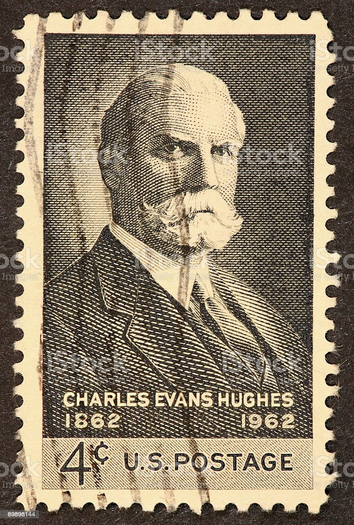 Charles Evans Highes stamp stock photo
