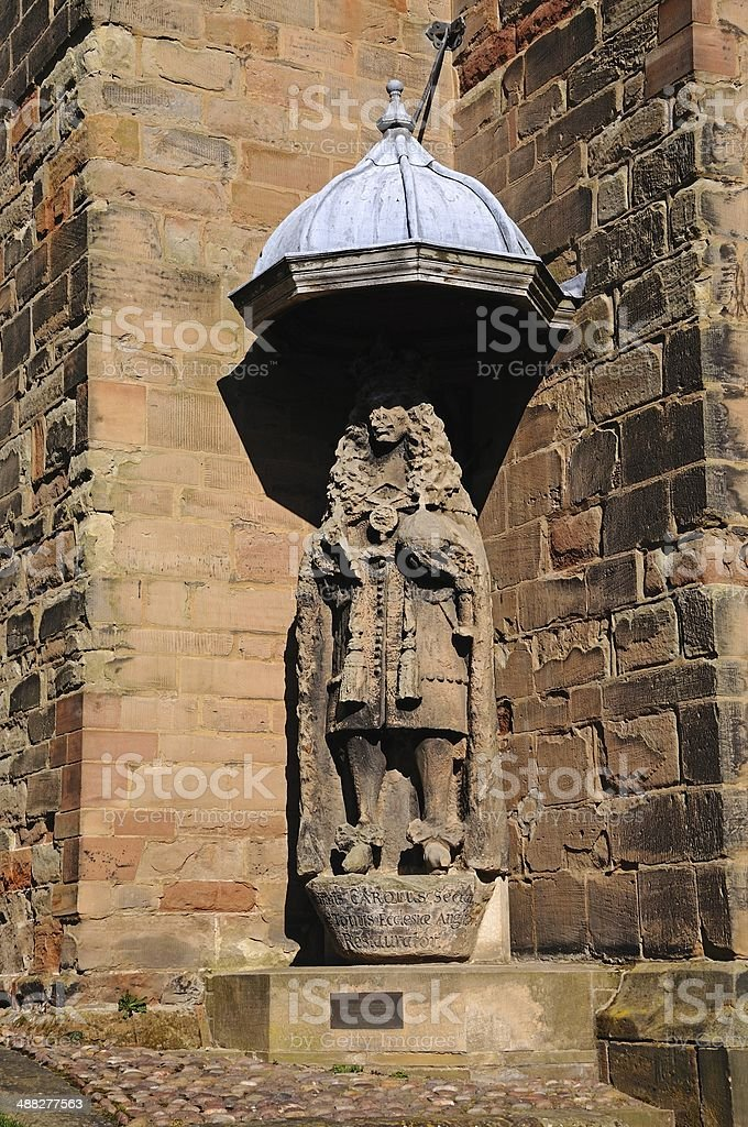 Charles II statue, Lichfield Cathedral. stock photo