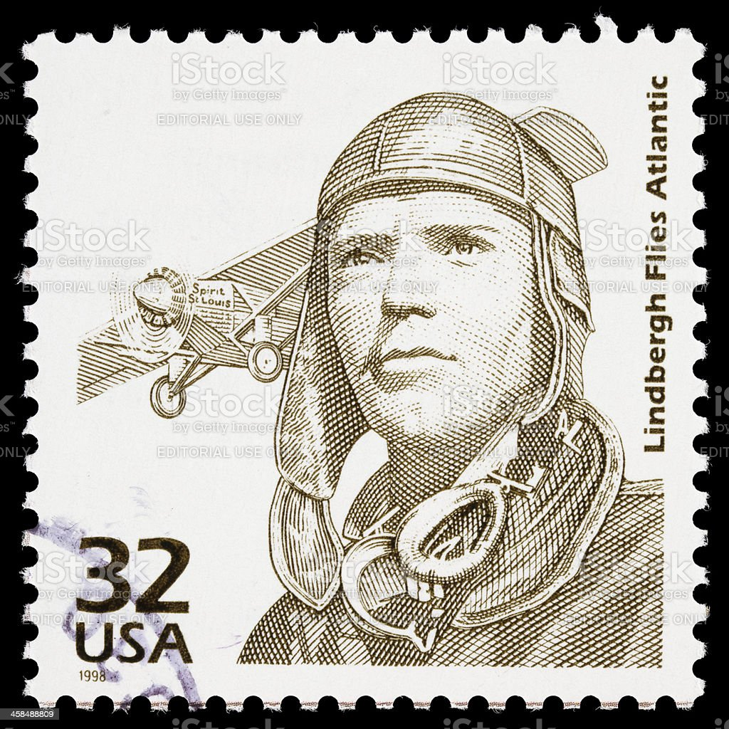 USA Charles Lindbergh postage stamp royalty-free stock photo
